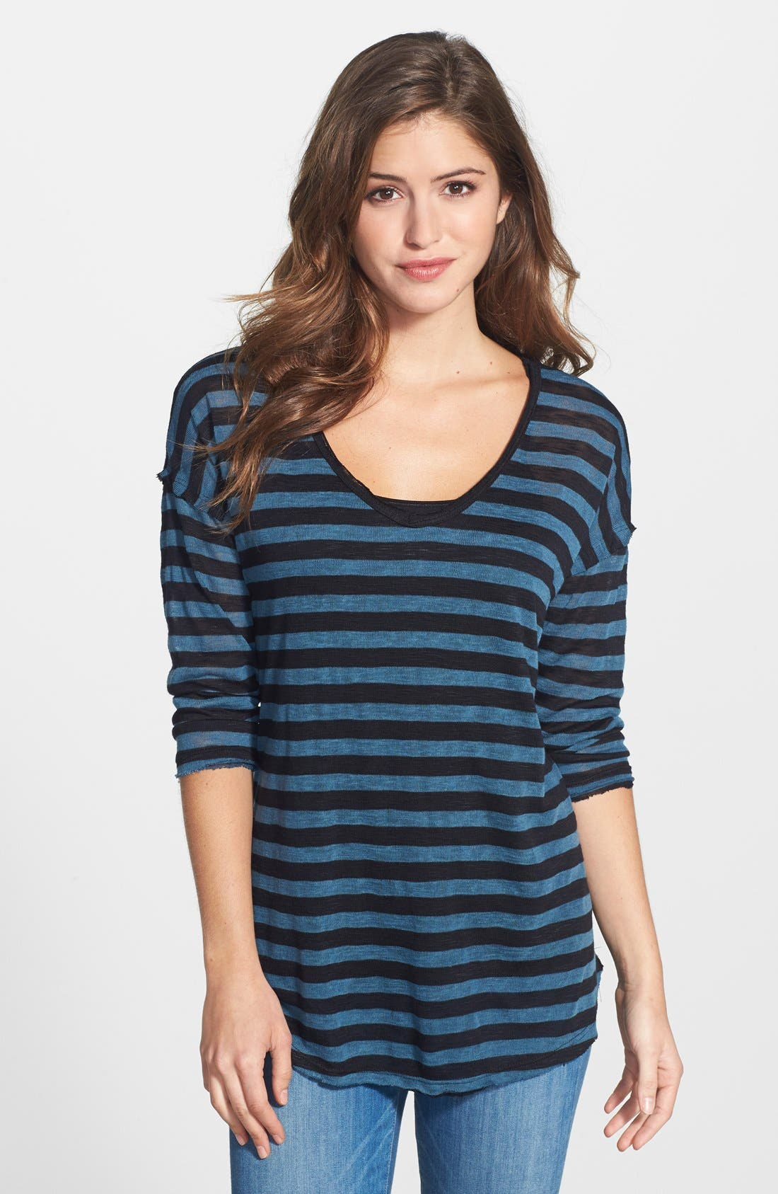 Alternate Image 1 Selected - Bobeau V-Neck Long Sleeve Stripe Pullover