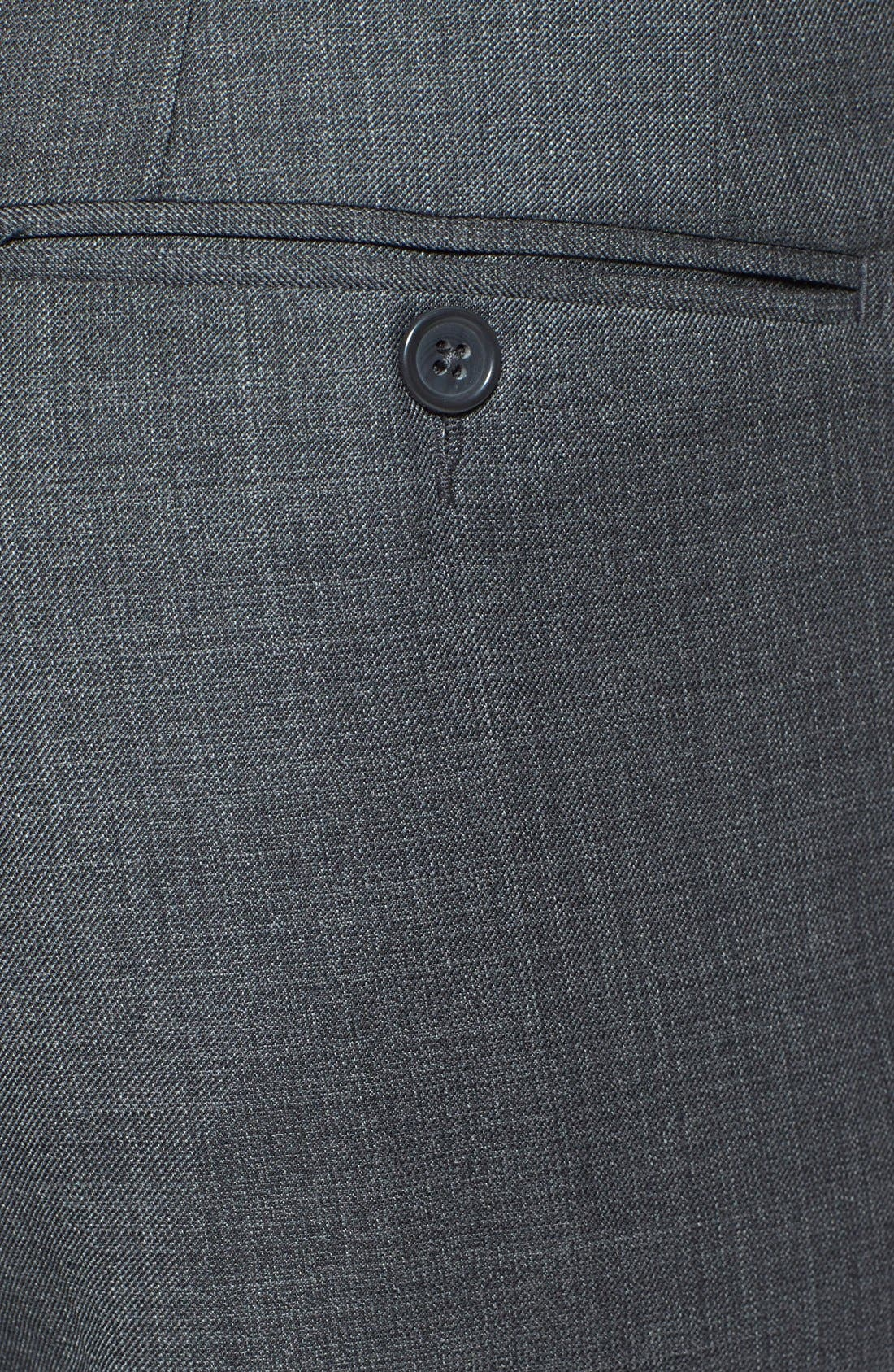 Flat Front Wool Trousers,                             Alternate thumbnail 2, color,                             Grey
