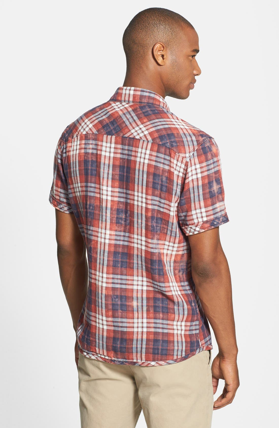 Alternate Image 2  - Jeremiah 'Ohio' Short Sleeve Reversible Plaid & Gingham Shirt