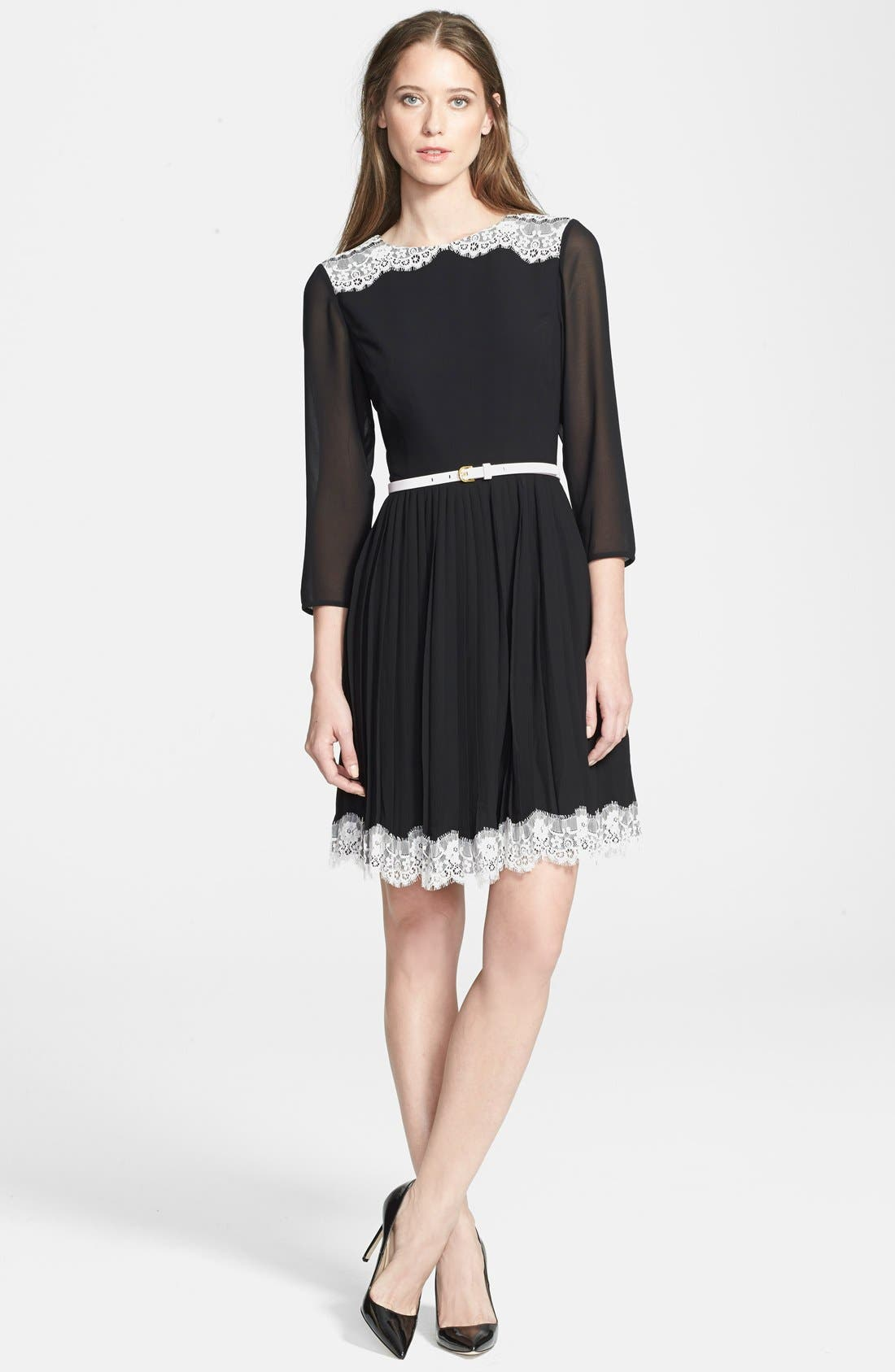 Main Image - Ted Baker London 'Olivhia' Lace Detail A-Line Dress