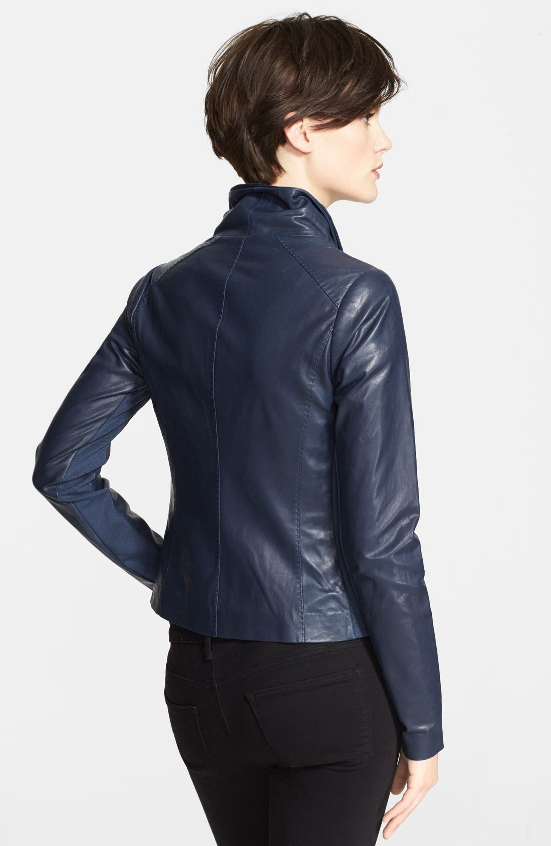 Lambskin Leather Scuba Jacket,                             Alternate thumbnail 2, color,                             Mallard