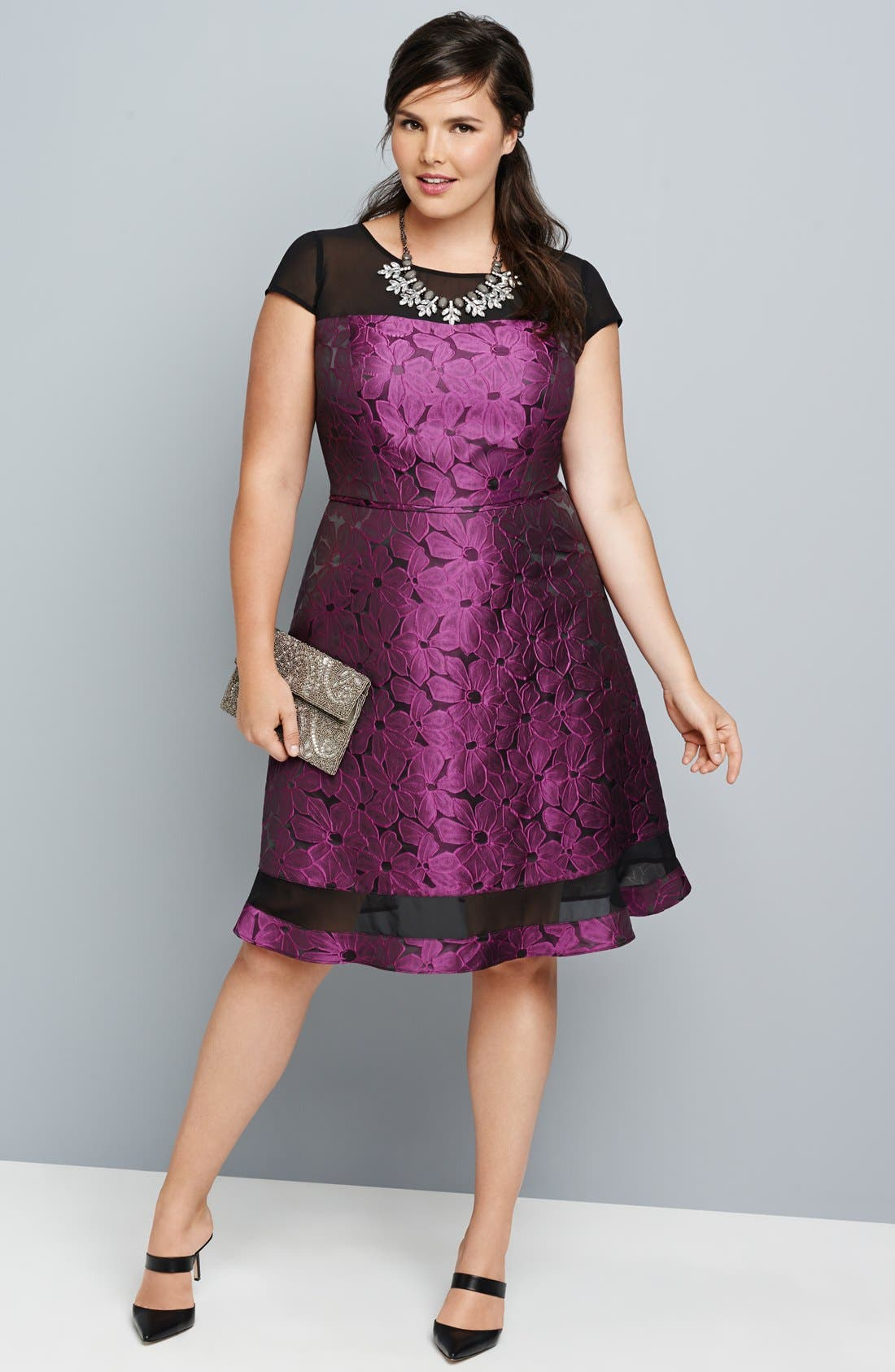 Alternate Image 4  - Adrianna Papell Chiffon Inset Jacquard Fit & Flare Dress (Plus Size)