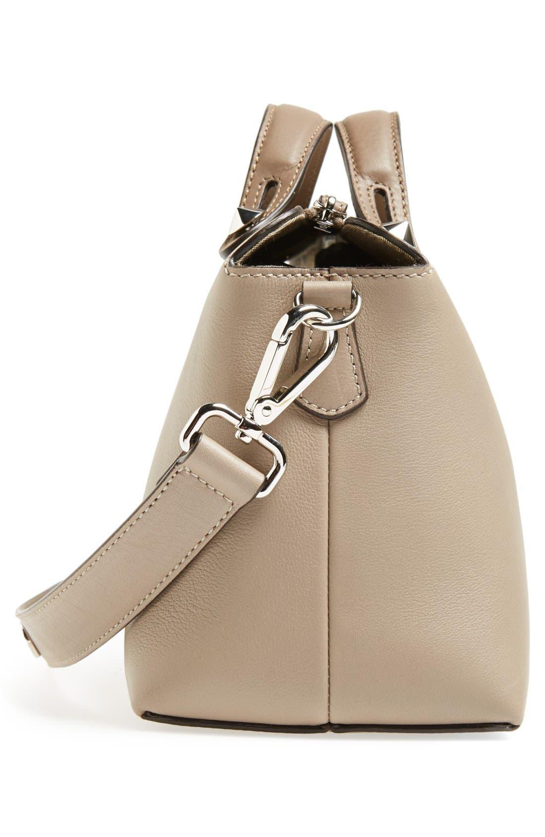 'Bauletto Piccolo' Leather Crossbody Bag,                             Alternate thumbnail 5, color,                             Turtledv Sepia Palladuim