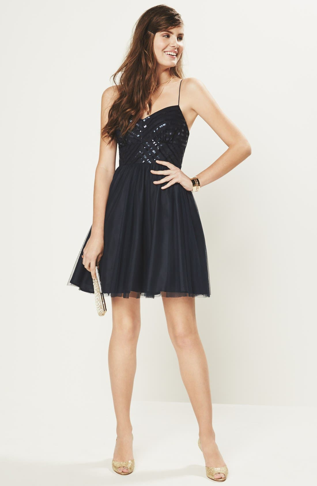 Alternate Image 6  - Aidan by Aidan Mattox Spaghetti Strap Sequin & Tulle Dress (Online Only)