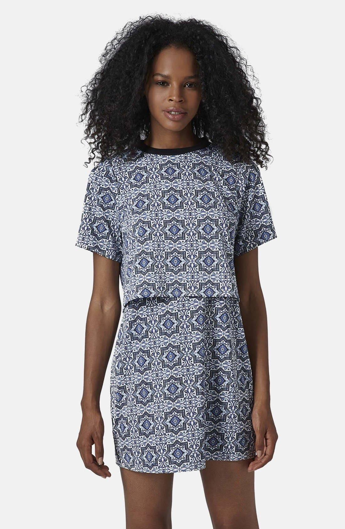 Main Image - Topshop Tile Print Crop Overlay Dress