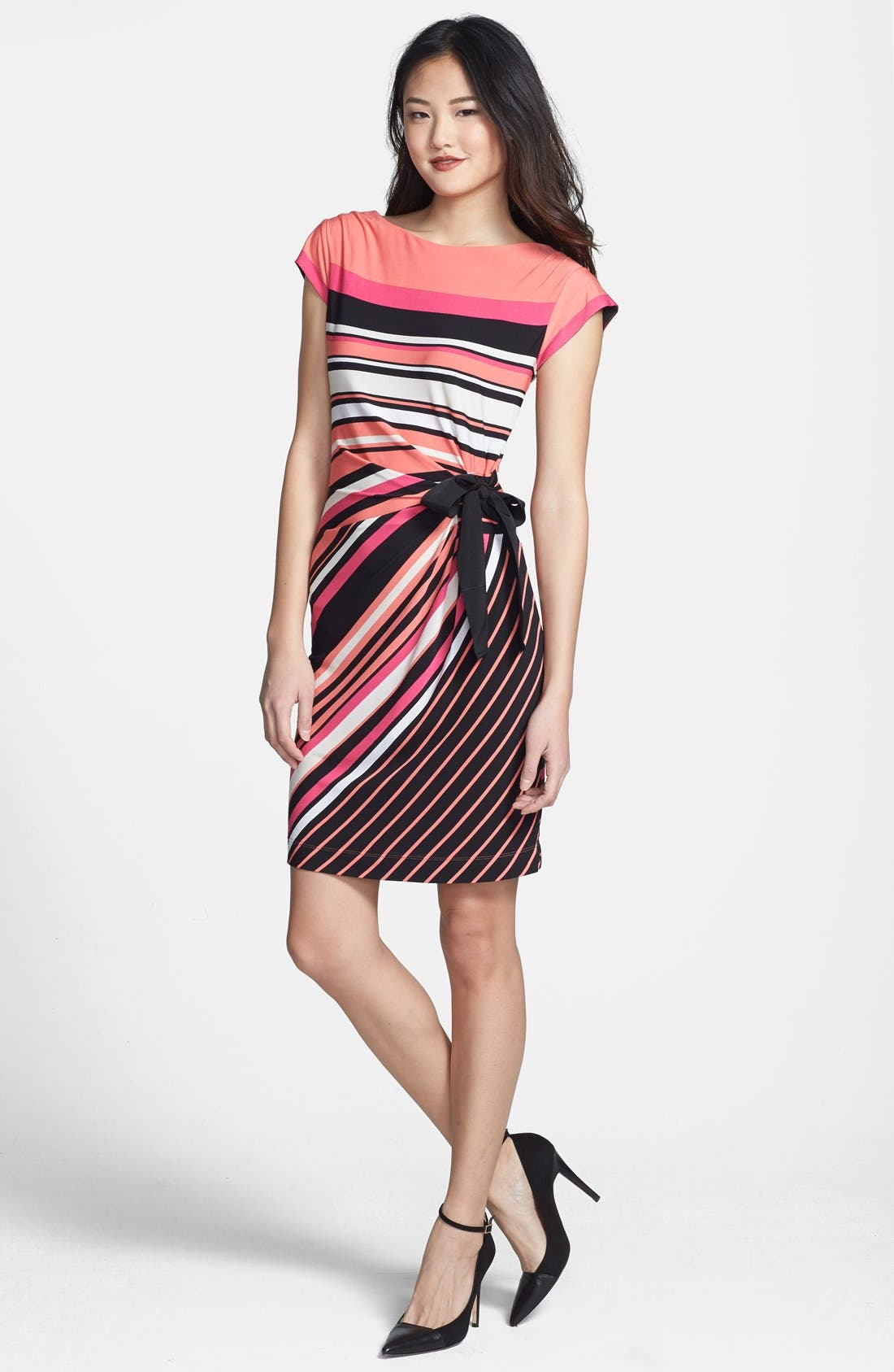 Alternate Image 1 Selected - Taylor Dresses Side Tie Stripe Jersey Dress (Petite)