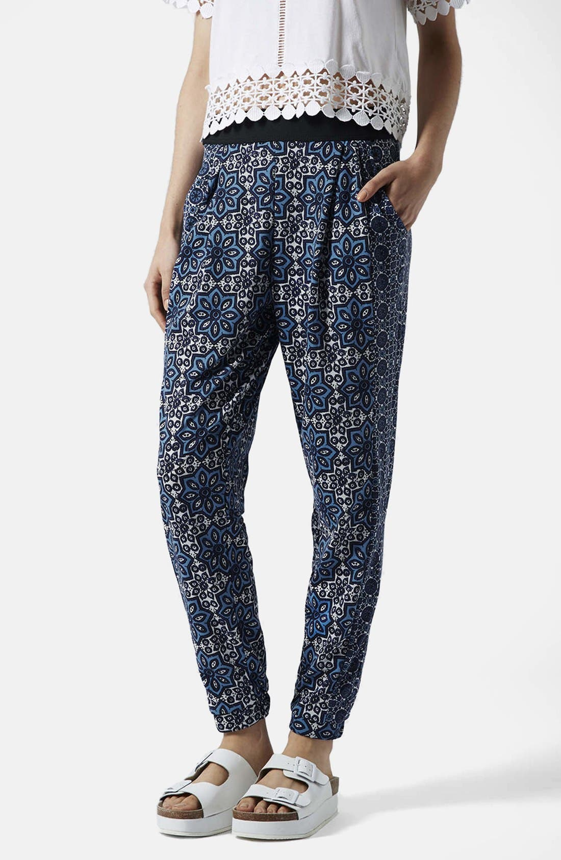 Alternate Image 1 Selected - Topshop Tile Print Jersey Trousers