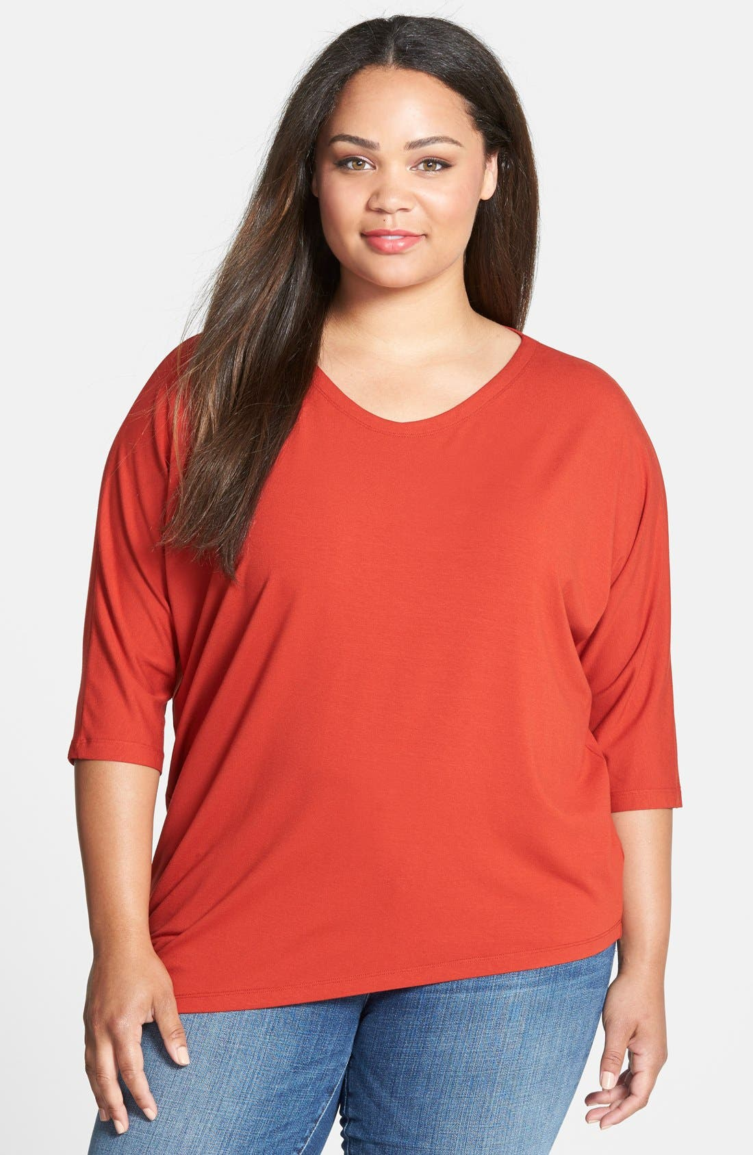 Main Image - Eileen Fisher V-Neck Asymmetric Jersey Top (Plus Size)