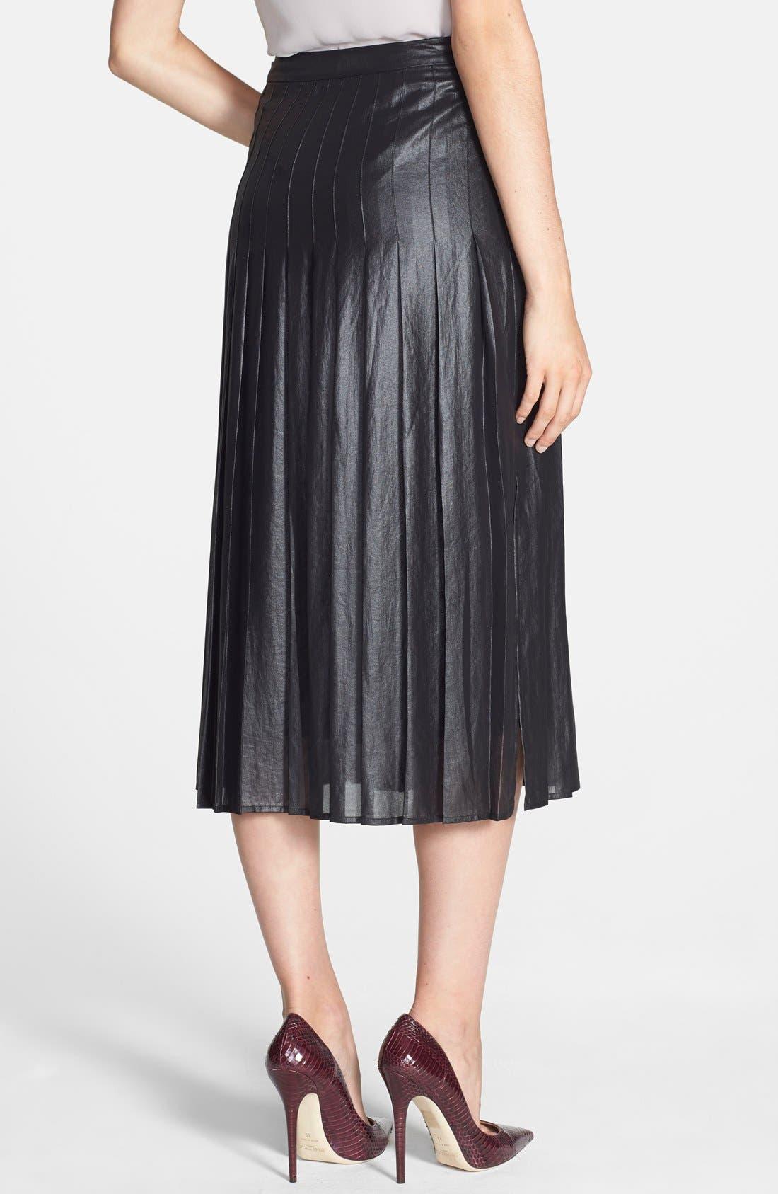 Pleat Midi Skirt,                             Alternate thumbnail 2, color,                             Coated Black