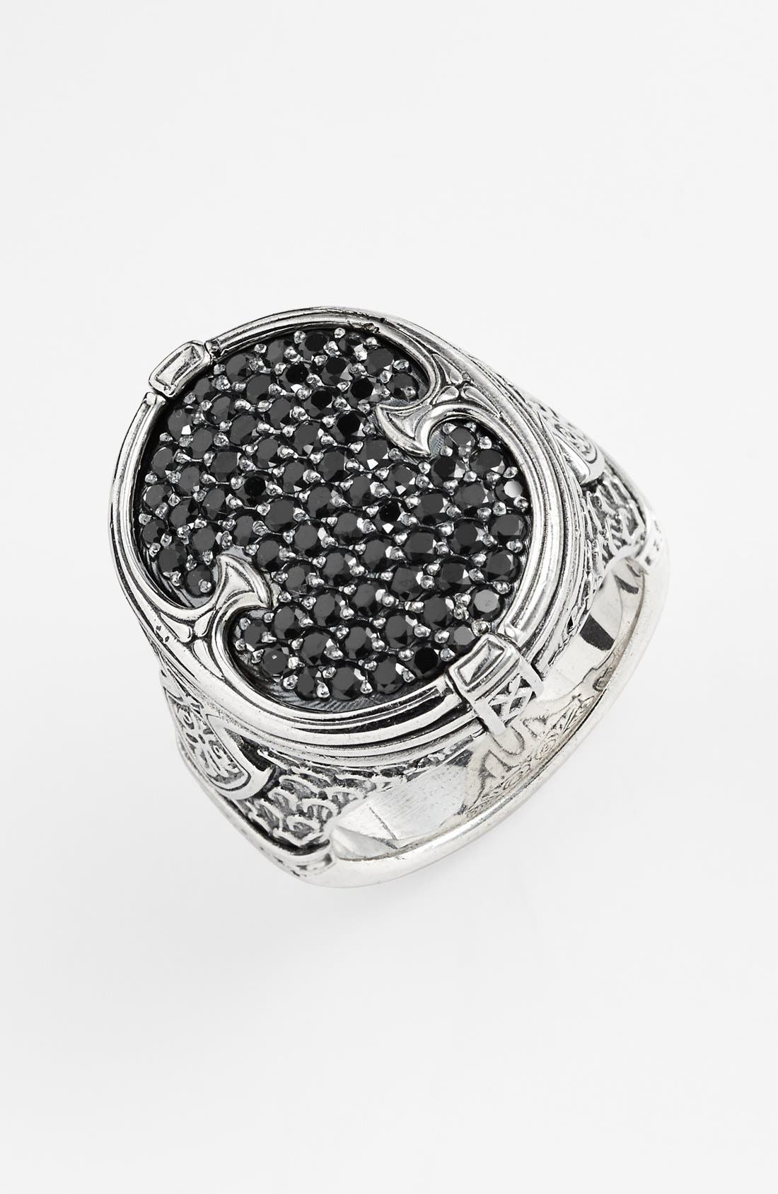 'Plato' Pavé Etched Ring,                             Main thumbnail 1, color,                             Silver