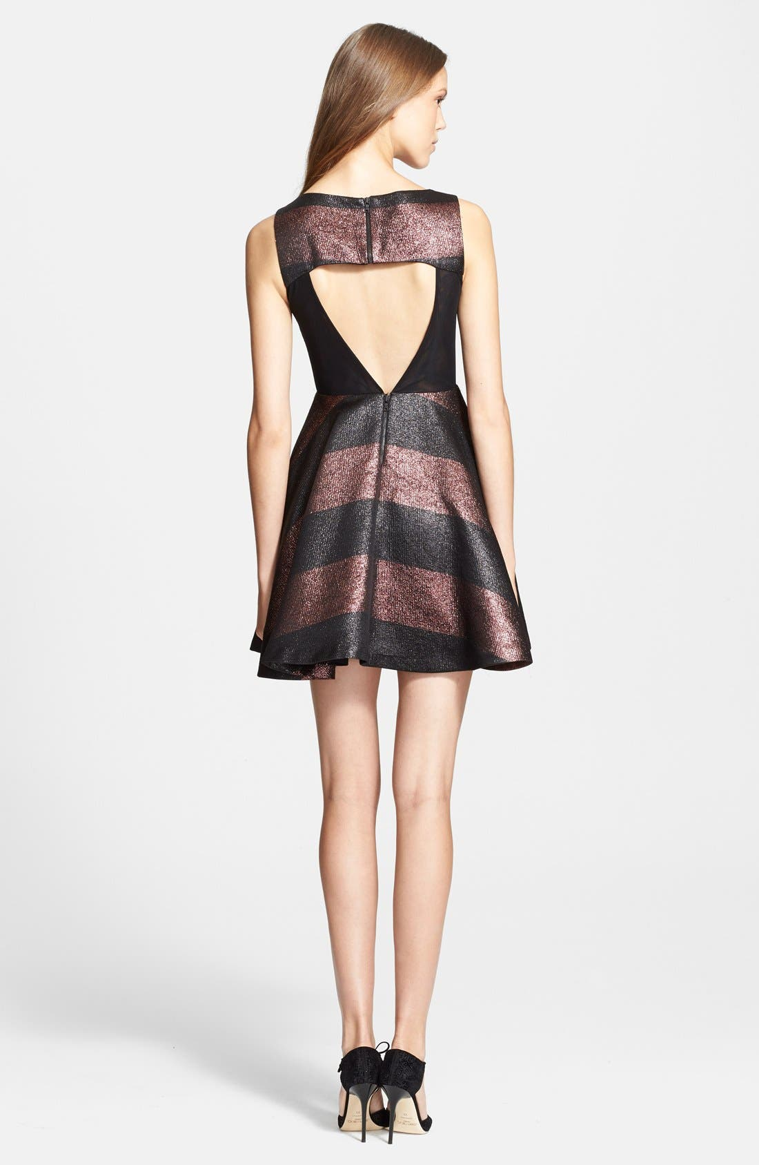 Alternate Image 2  - Alice + Olivia 'Foss' Metallic Stripe Fit & Flare Dress