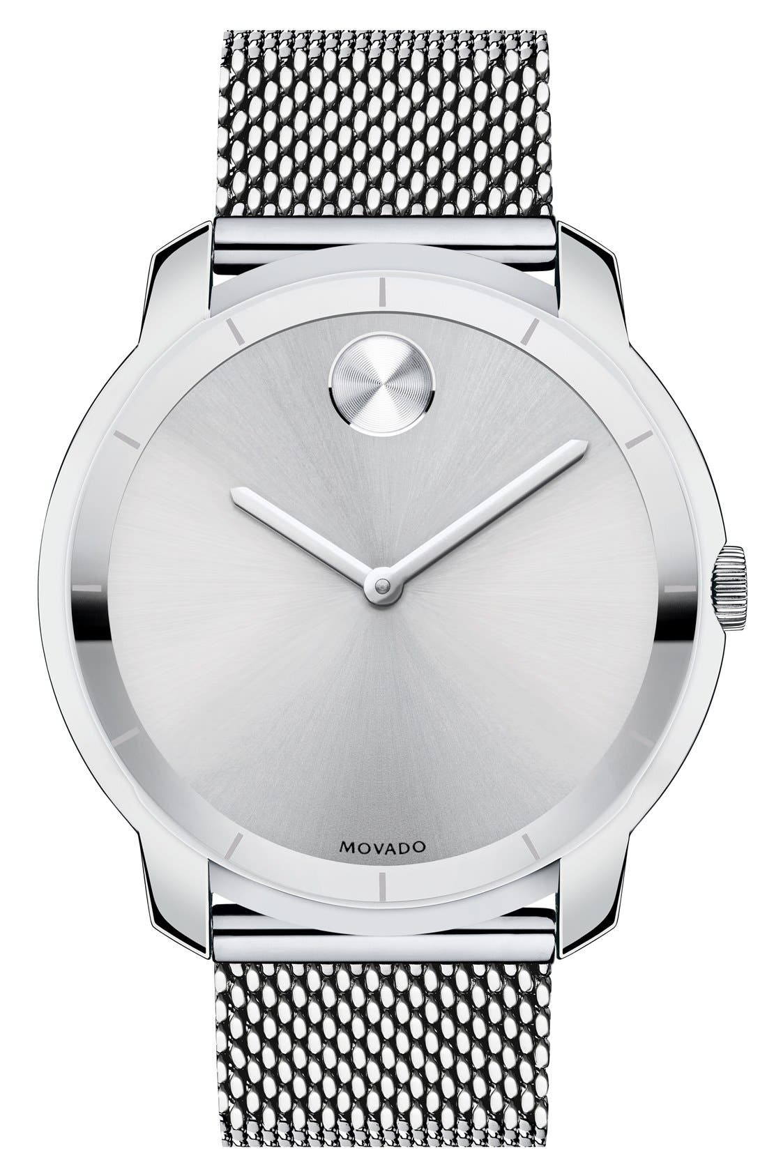 'Bold' Mesh Strap Watch, 44mm,                         Main,                         color, Silver