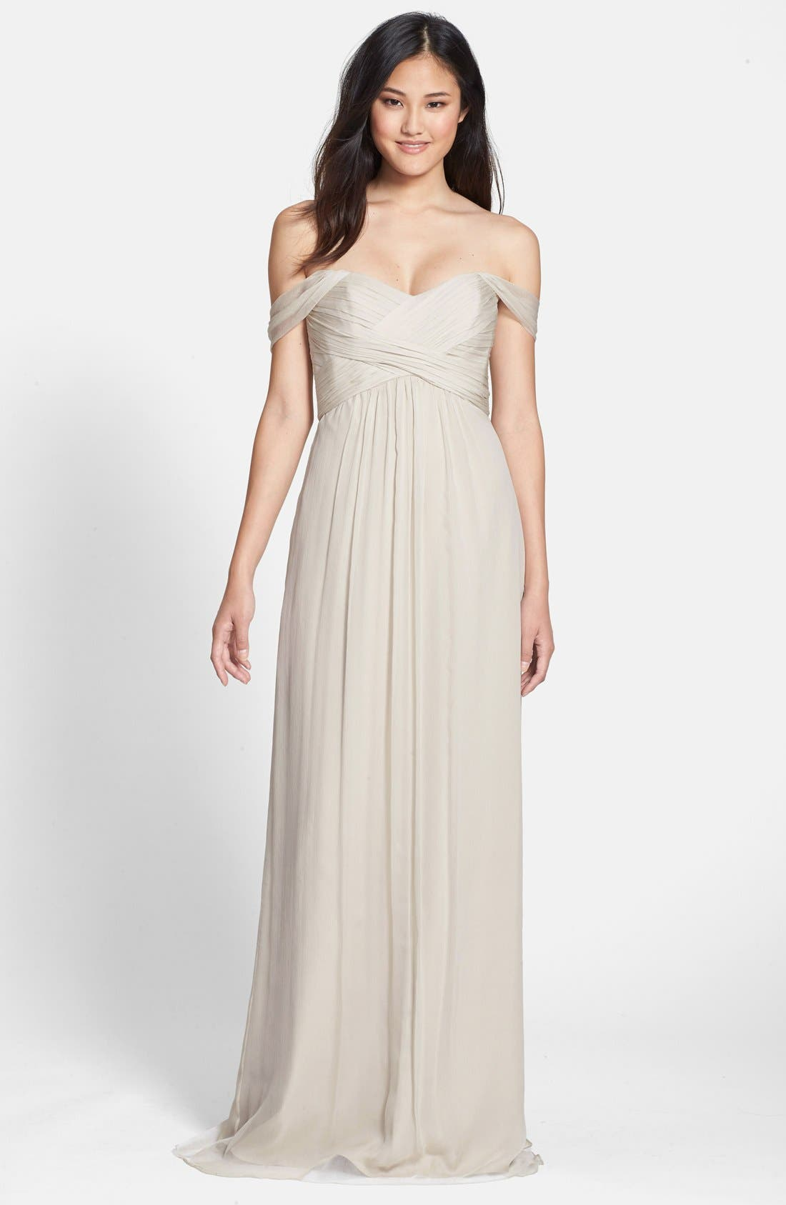Convertible Crinkled Silk Chiffon Gown,                         Main,                         color, Champagne
