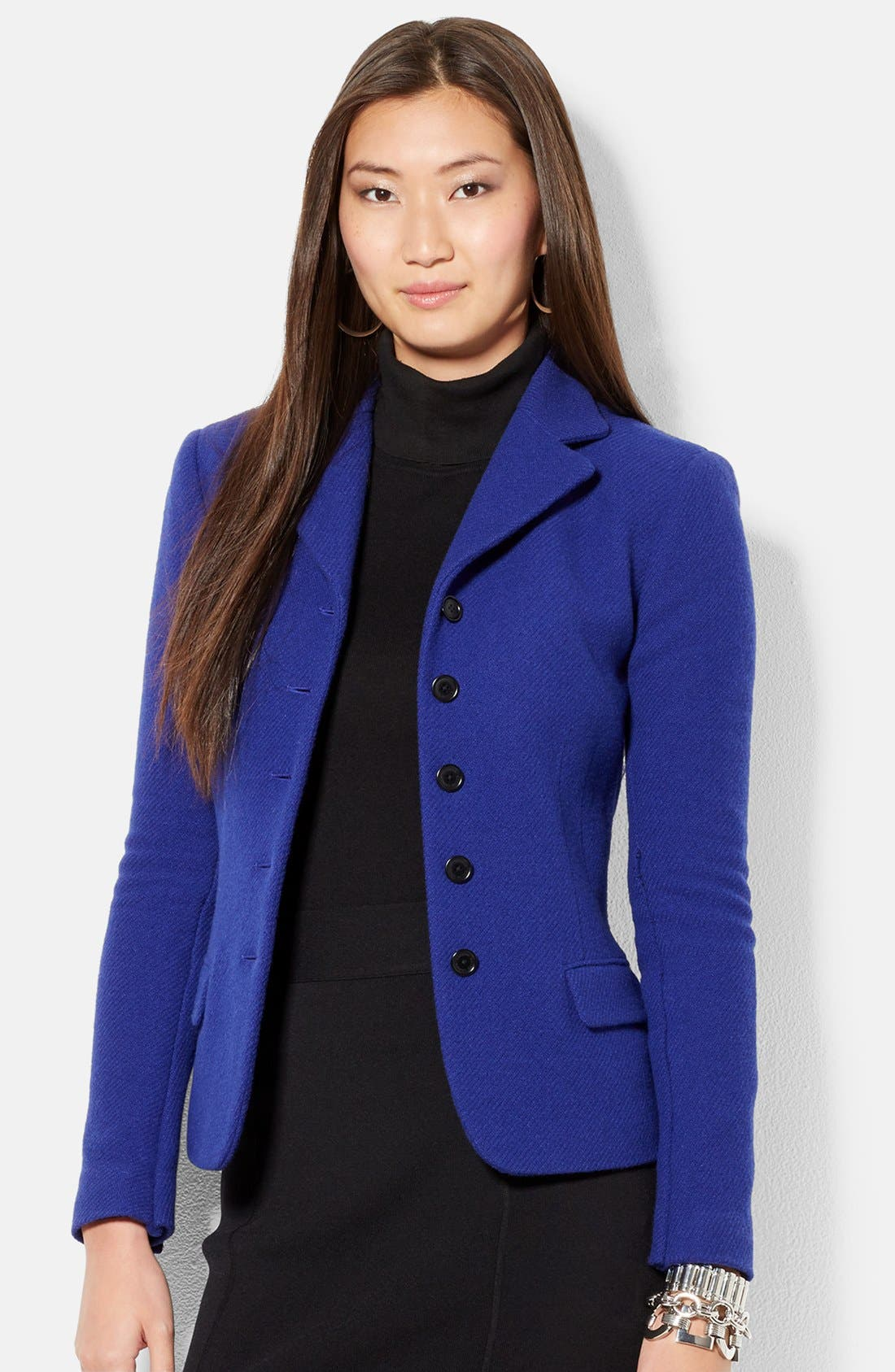 Fitted Wool Blend Jacket,                             Main thumbnail 1, color,                             Lapis