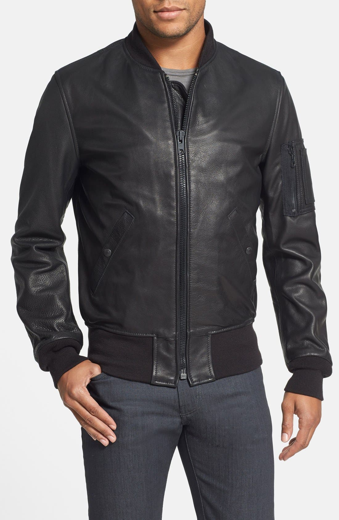 'MA-1' Slim Fit Leather Jacket,                         Main,                         color, Black
