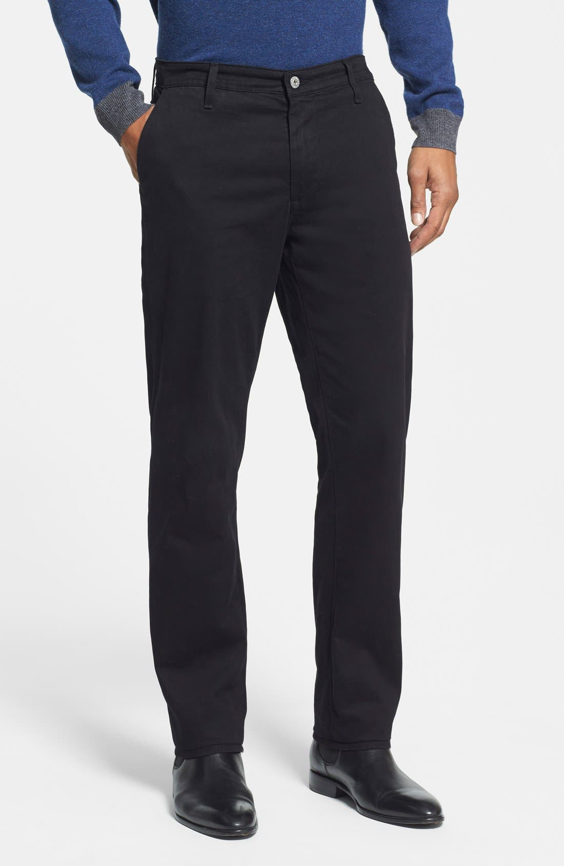 'The Lux' Tailored Straight Leg Chinos,                             Main thumbnail 1, color,                             Black