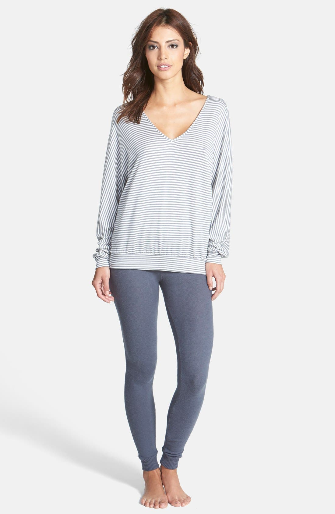 'Sadie Stripe' Dolman Sleeve French Terry Top,                             Alternate thumbnail 3, color,                             Storm Cloud