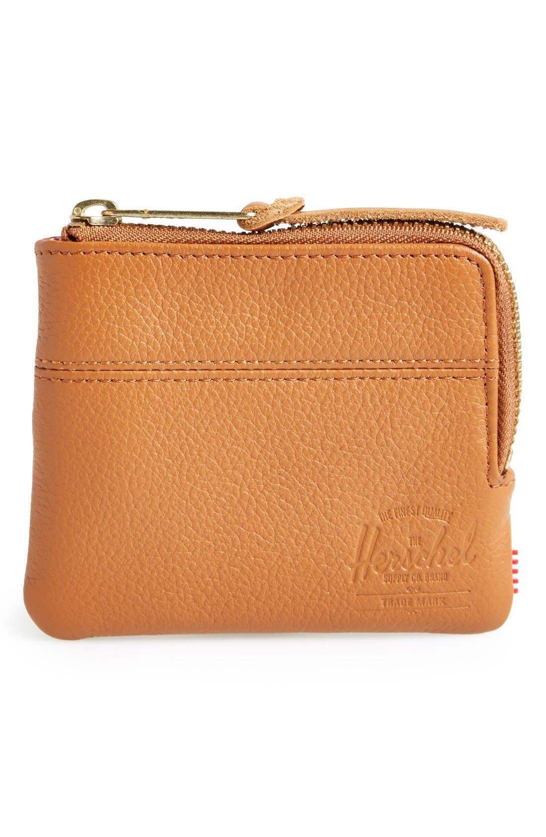 Alternate Image 1 Selected - Herschel Supply Co. 'Johnny' Half Zip Leather Wallet