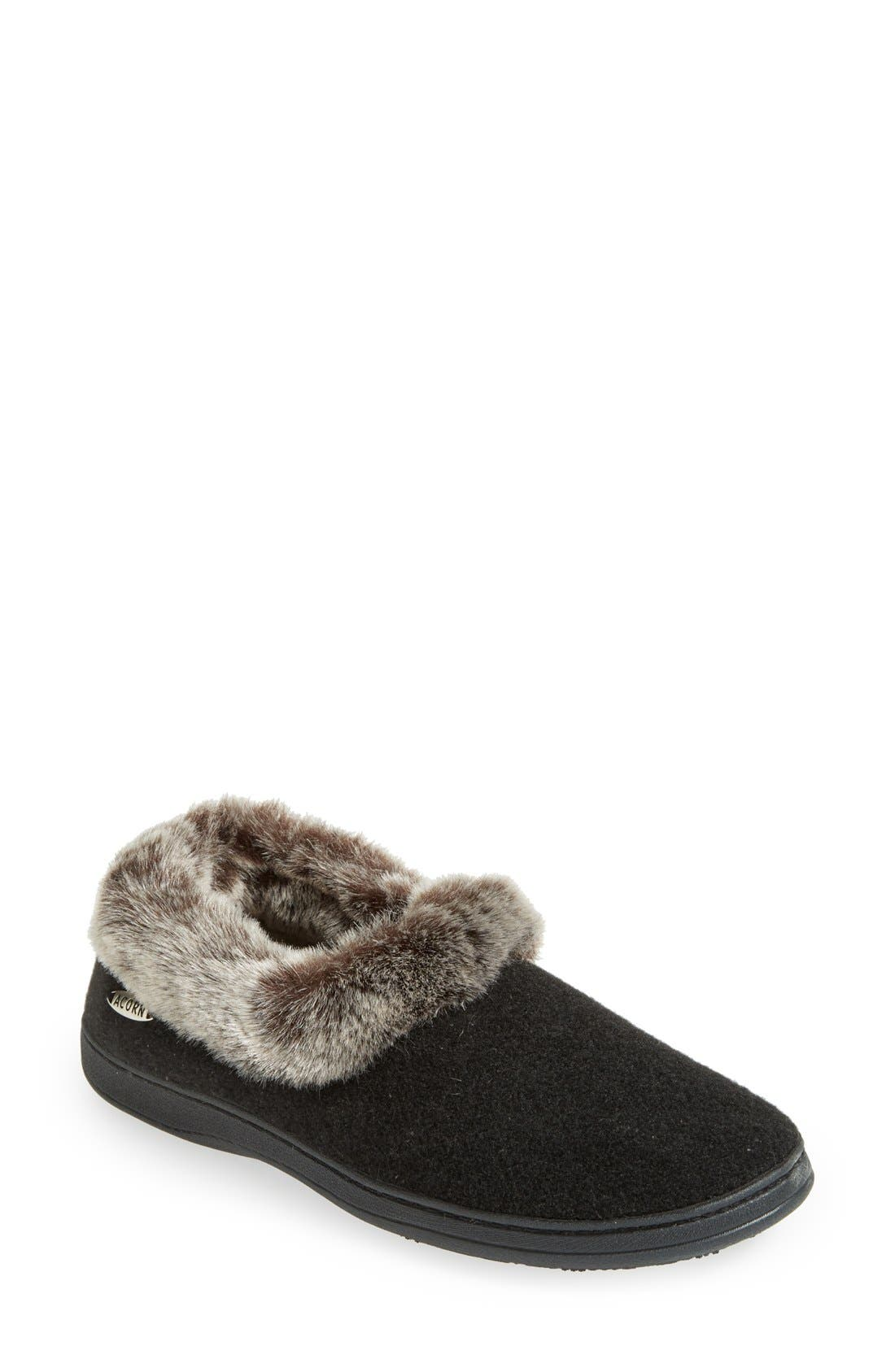 'Chinchilla Collar' Faux Fur Slipper,                             Main thumbnail 1, color,                             Black