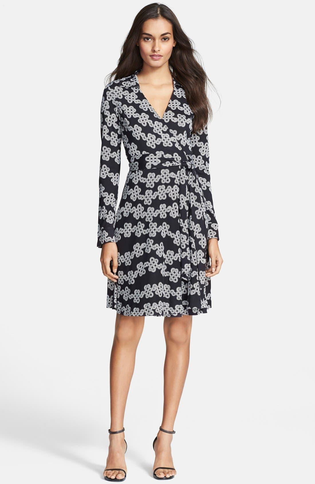 Main Image - Diane von Furstenberg Print Silk Jersey Wrap Dress