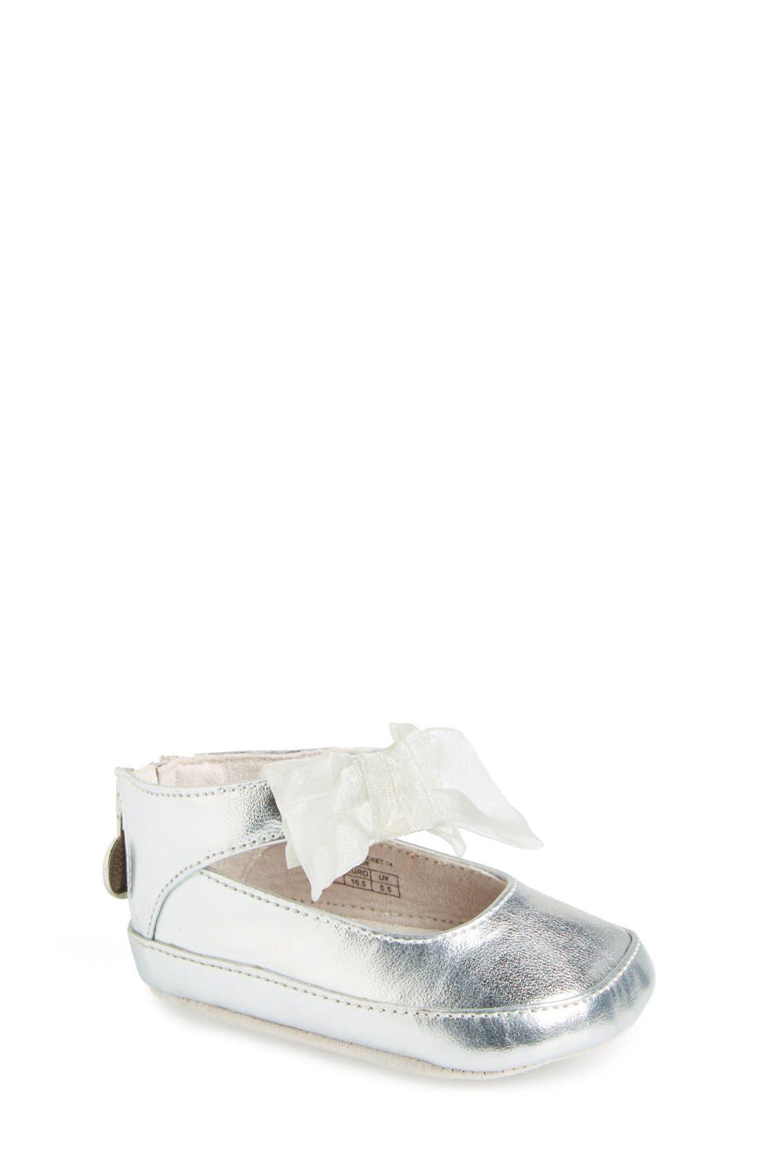 'Baby Nantucket' Crib Shoe,                         Main,                         color, Silver