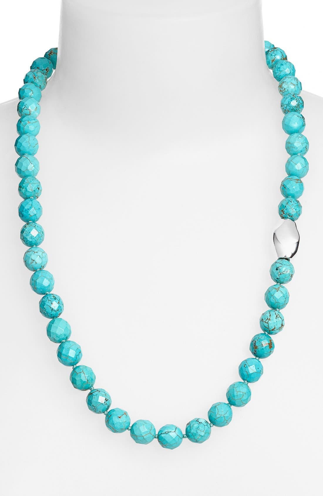 Stone Beaded Necklace,                         Main,                         color, Silver Oval/ Turquoise