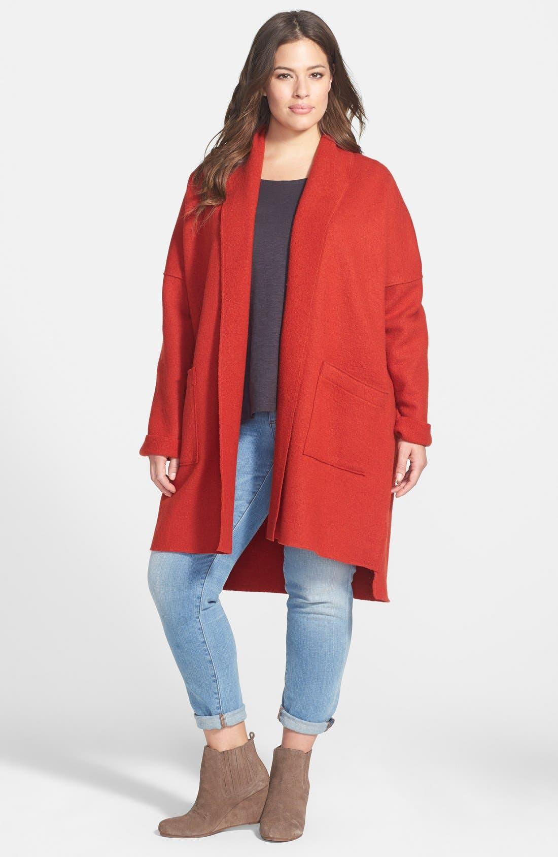 Alternate Image 4  - Eileen Fisher Boiled Wool Kimono Coat (Plus Size)