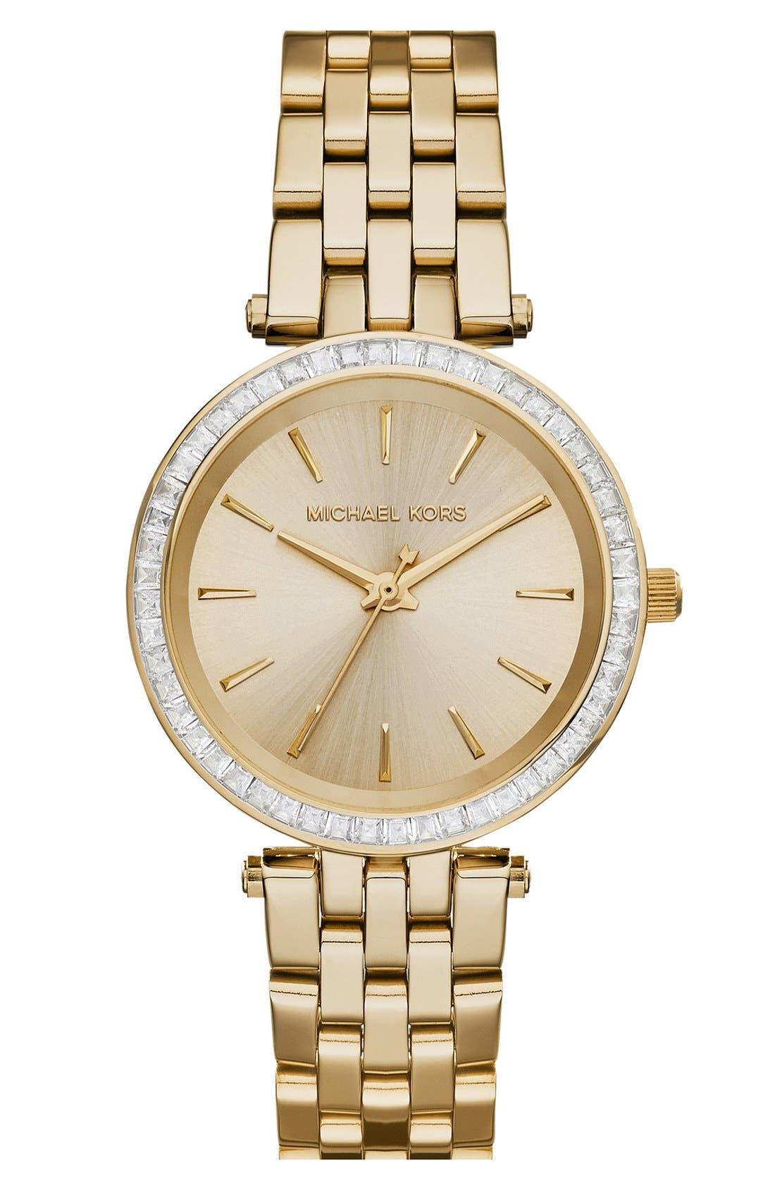 'Mini Darci' Round Bracelet Watch, 33mm,                         Main,                         color, Gold