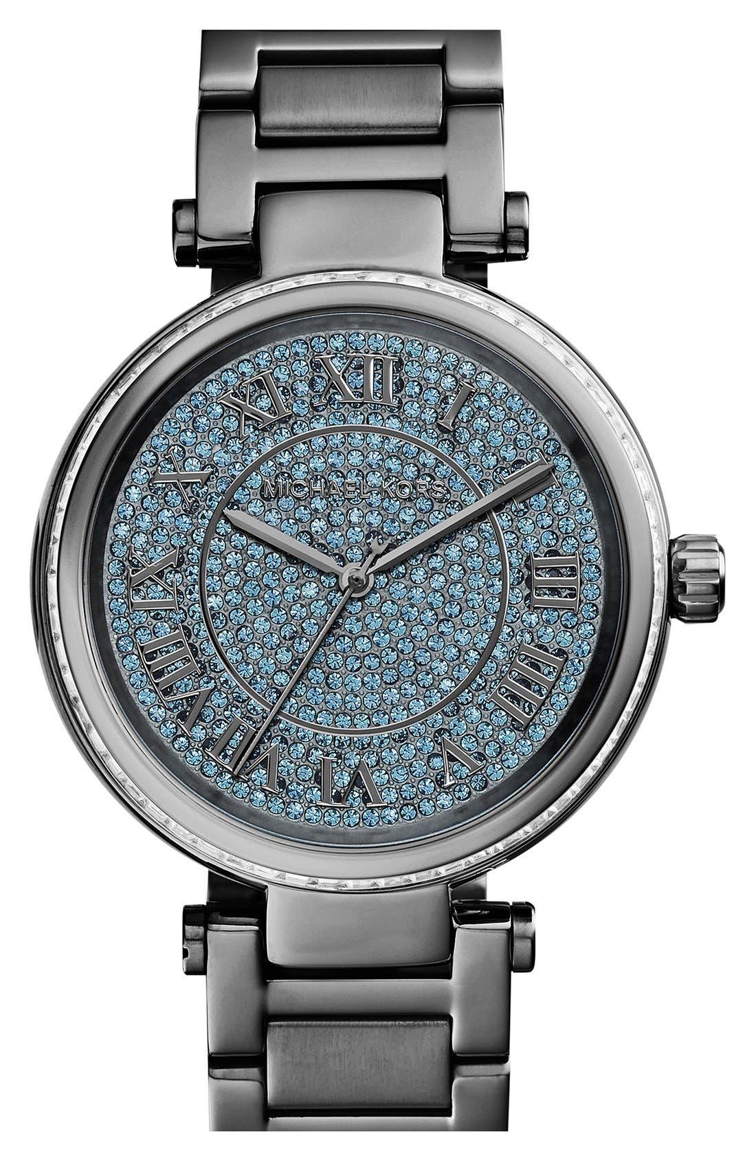 Main Image - Michael Kors 'Skylar' Pavé Dial Crystal Bezel Bracelet Watch, 42mm