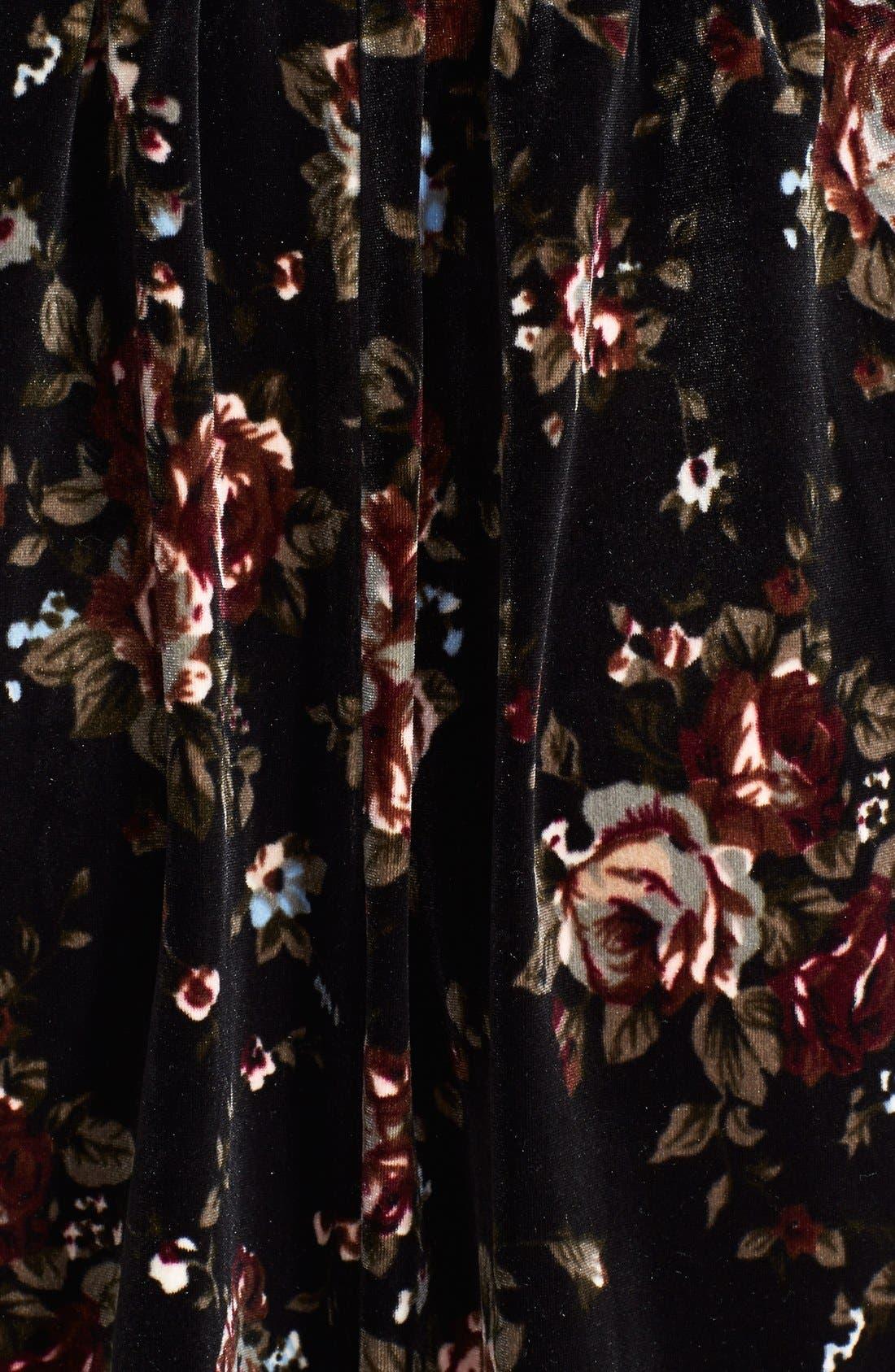Alternate Image 4  - One Clothing Print Velvet Skater Dress (Juniors)