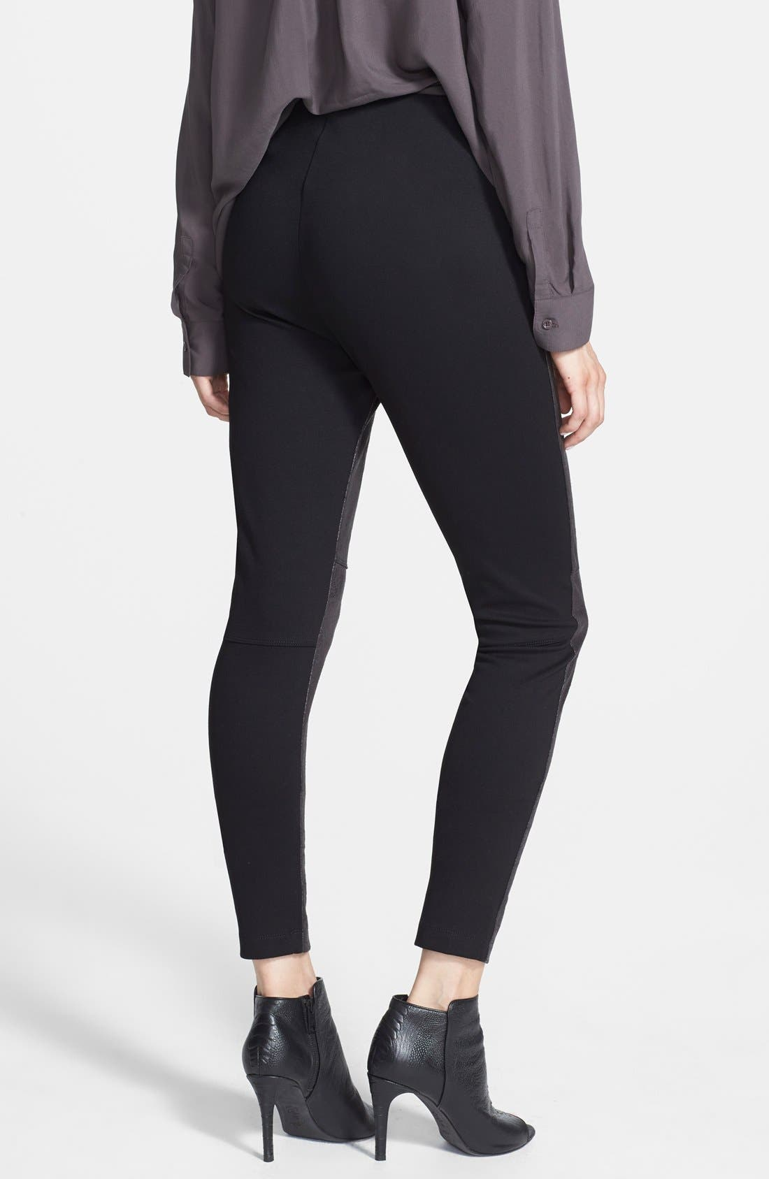 'Rue' Faux Leather & Ponte Knit Leggings,                             Alternate thumbnail 2, color,                             Black