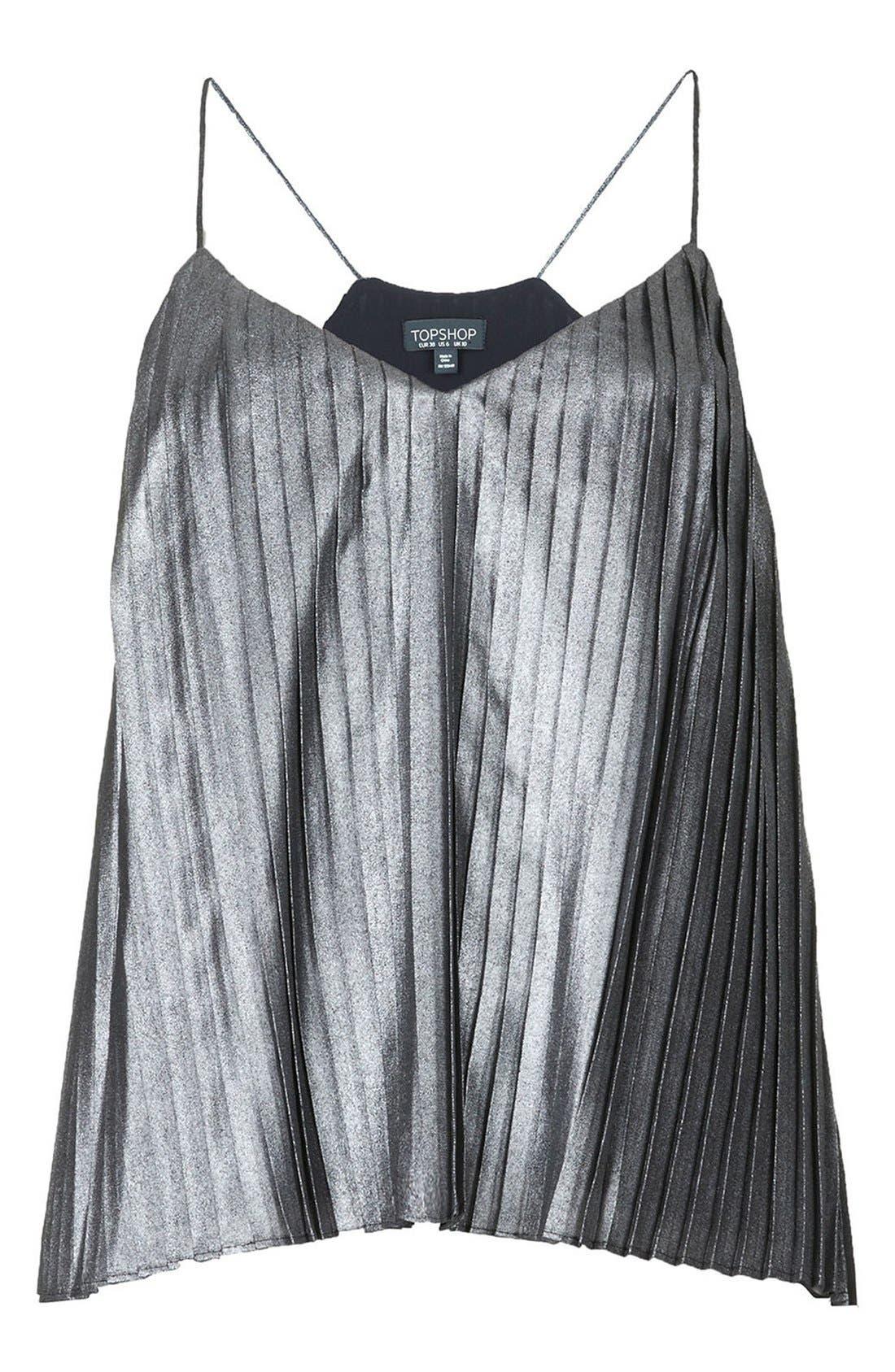 Metallic Pleat Camisole,                             Alternate thumbnail 3, color,                             Silver