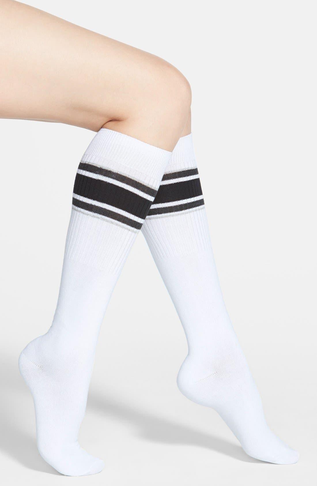 Alternate Image 1 Selected - Hot Sox Athletic Stripe Knee High Socks