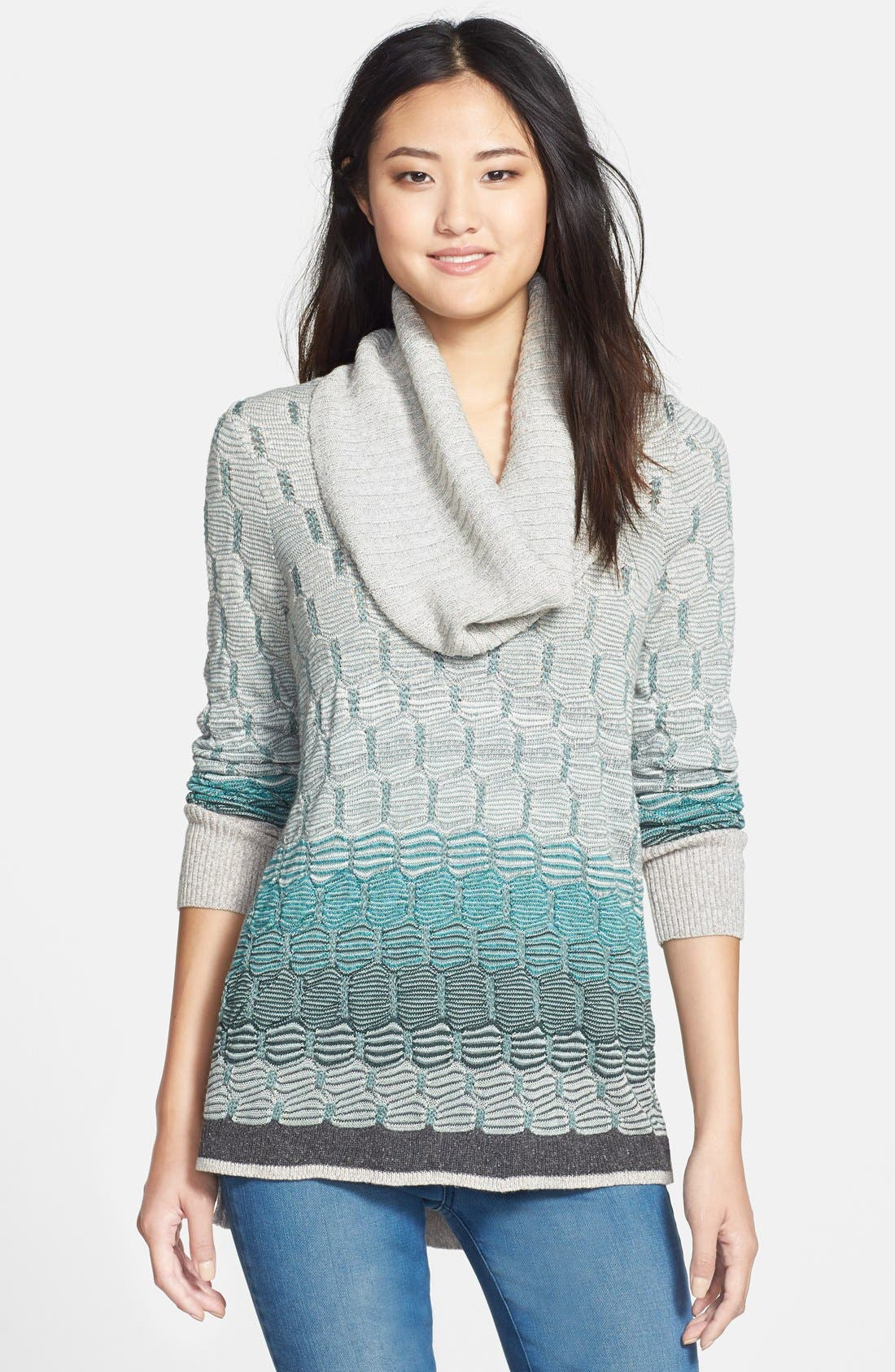 Alternate Image 1 Selected - NIC+ZOE Textured Ombré Sweater with Removable Cowl (Regular & Petite)