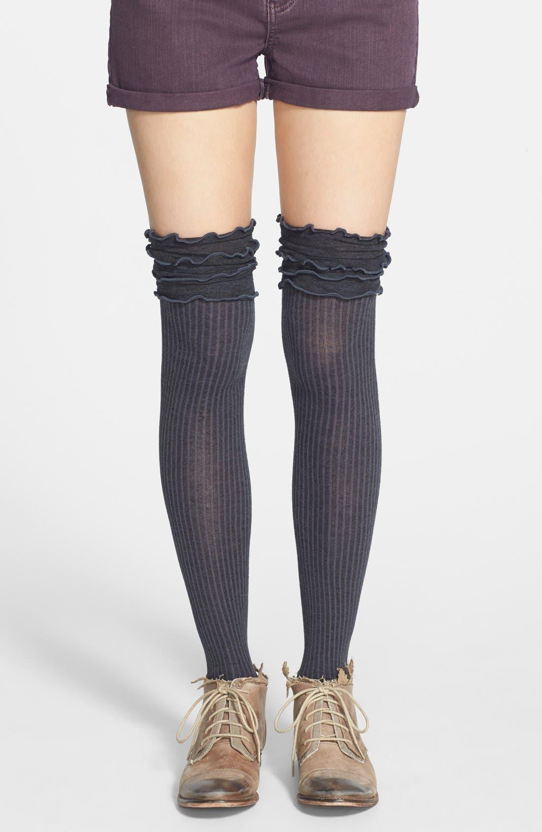 Main Image - Free People 'Fidler' Ruffled Over the Knee Socks