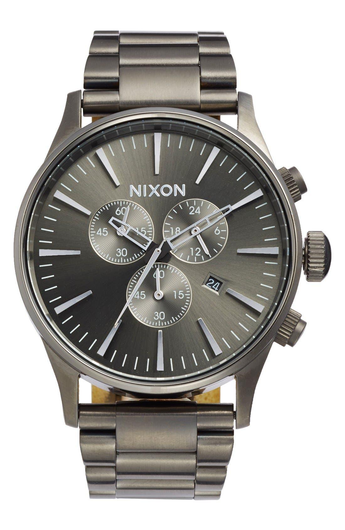 'The Sentry' Chronograph Bracelet Watch, 42mm,                         Main,                         color, All Gunmetal