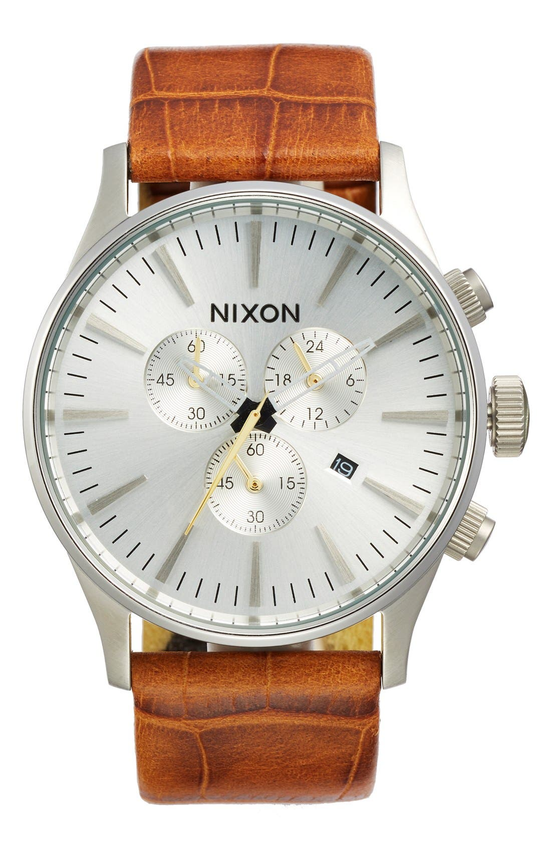 'Sentry Chrono' Embossed Leather Strap Watch, 42mm,                         Main,                         color, Saddle Gator