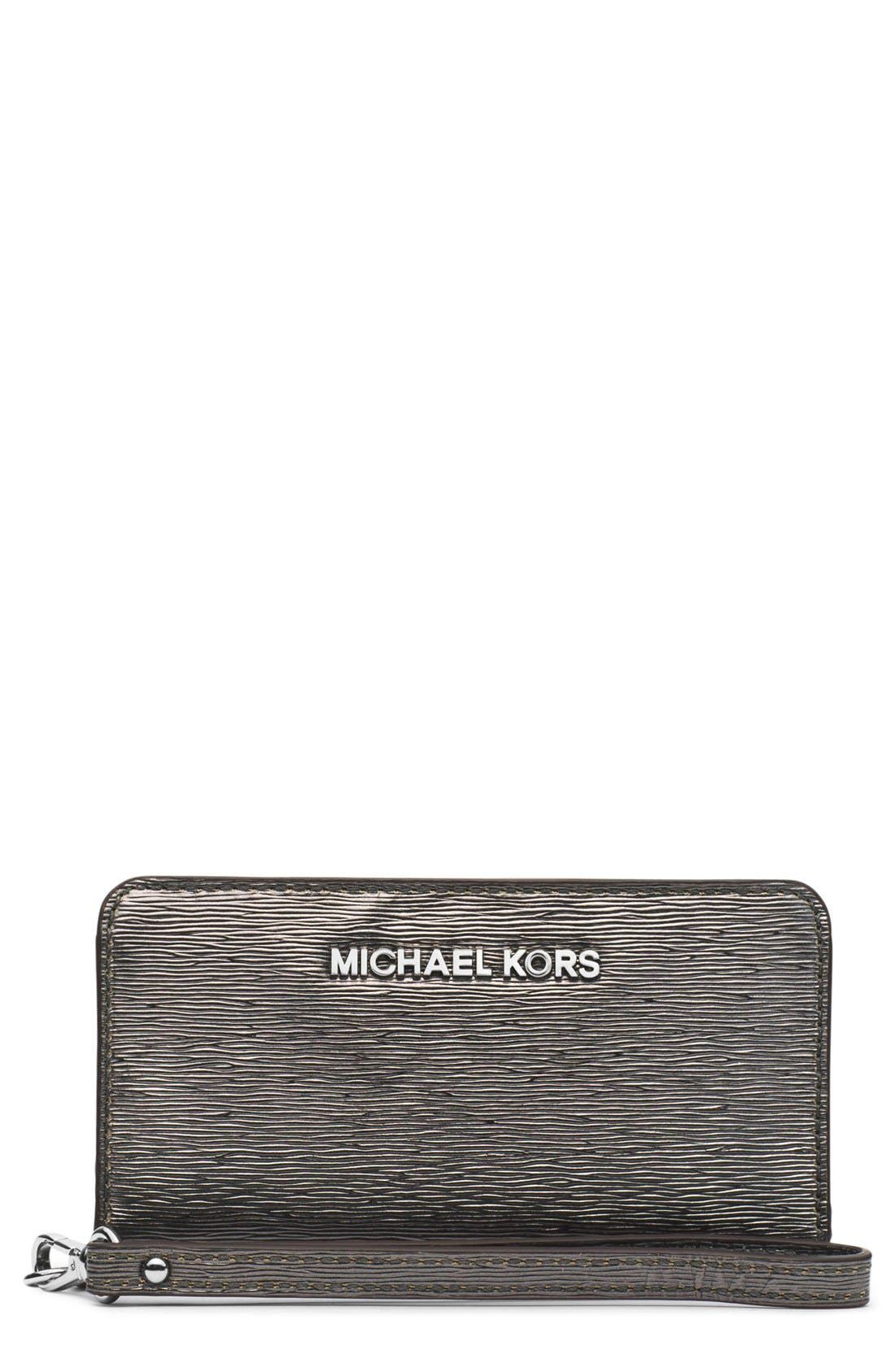 Main Image - MICHAEL Michael Kors Metallic Slim Tech Wristlet
