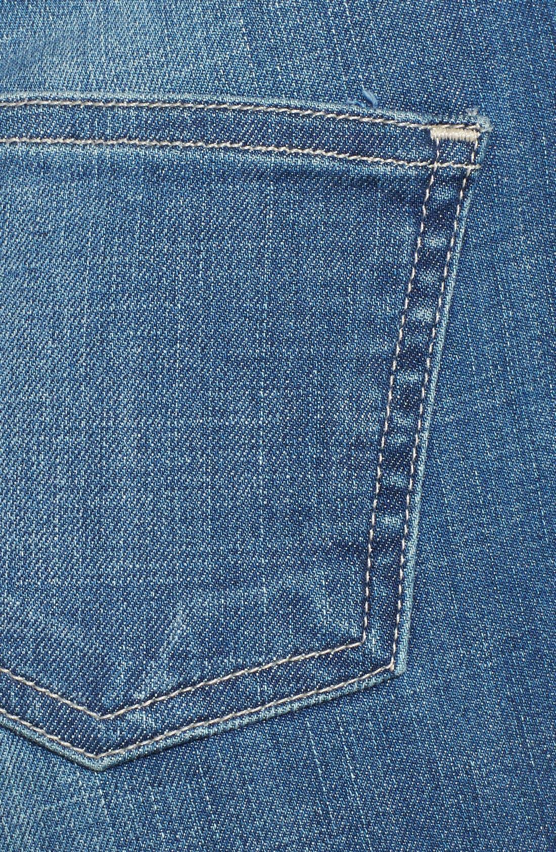Alternate Image 3  - STS Blue Crochet Detail Distressed High Waist Denim Shorts (Medium Wash) (Juniors)
