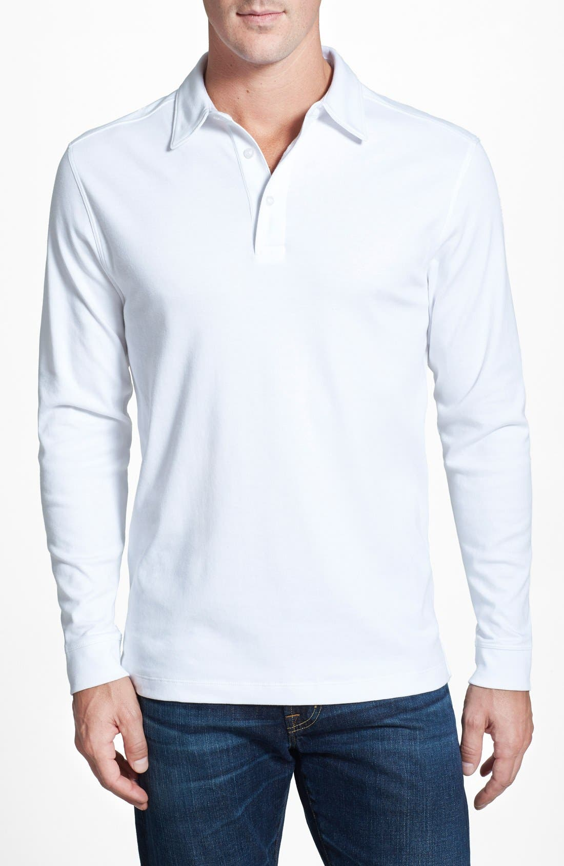 Belfair Pima Cotton Polo,                             Main thumbnail 1, color,                             White