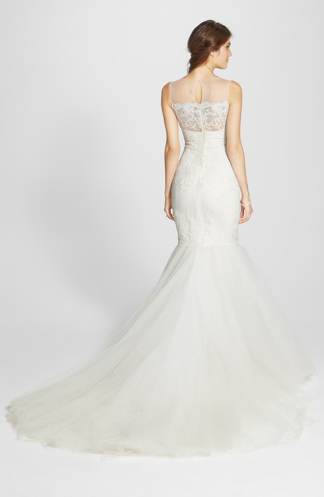 Alternate Image 2  - Marchesa Corded Lace & Layered Tulle Mermaid Gown (In Stores Only)
