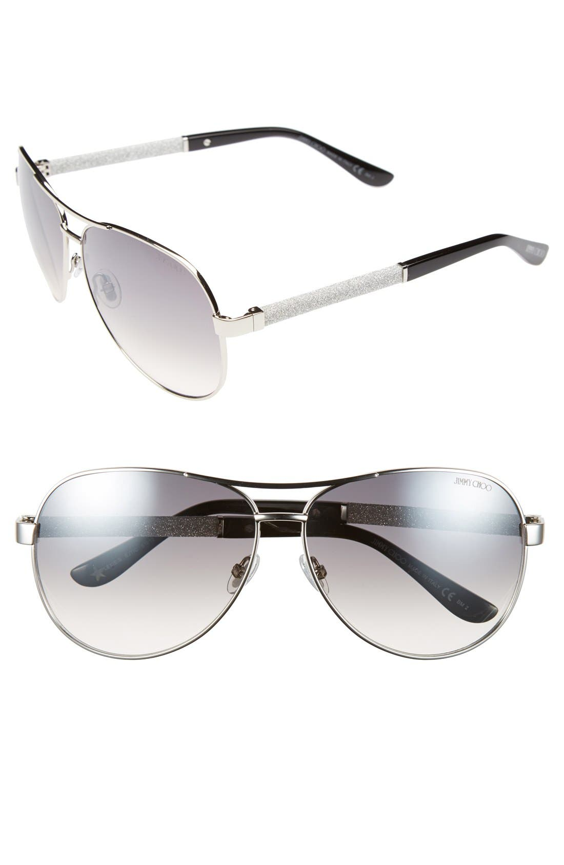 61mm Aviator Sunglasses,                             Main thumbnail 1, color,                             Palladium