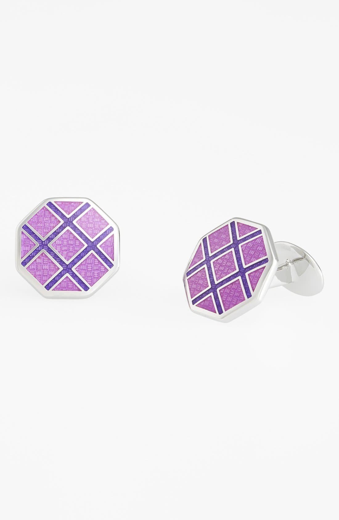 Octagon Cuff Links,                             Main thumbnail 1, color,                             Silver/ Light Purple/ Violet