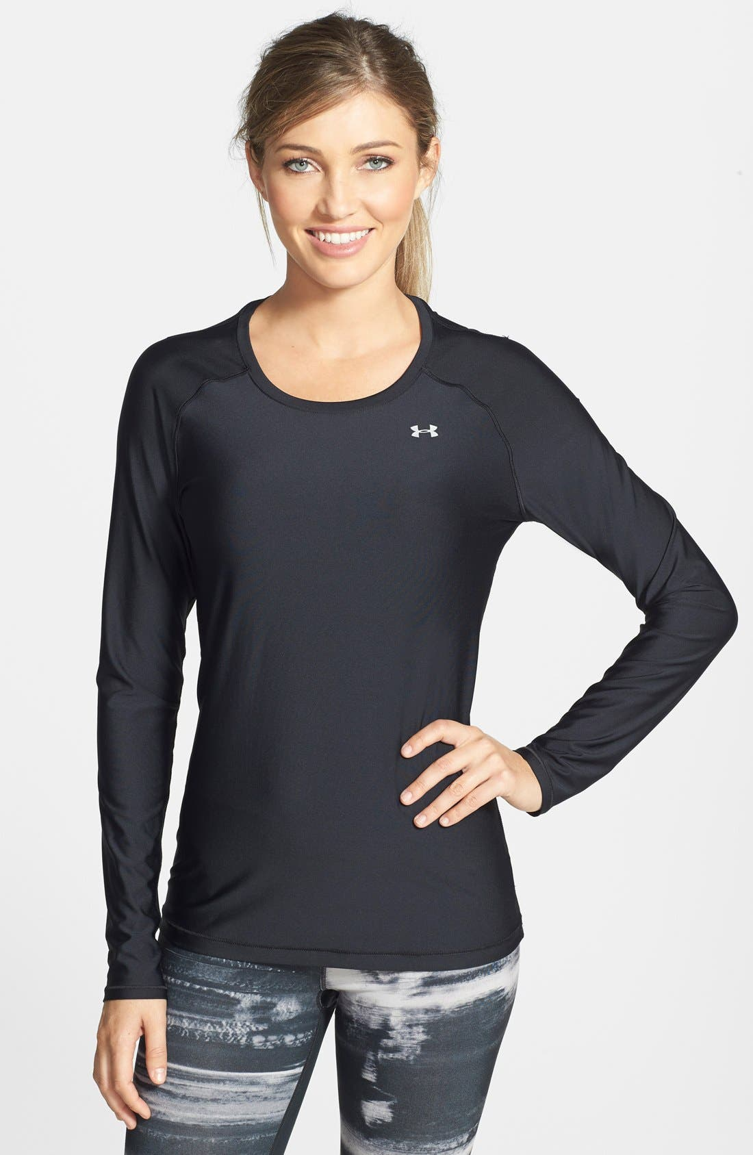'Alpha Novelty' HeatGear<sup>®</sup> Long Sleeve Top,                         Main,                         color, Black/ Metallic Silver