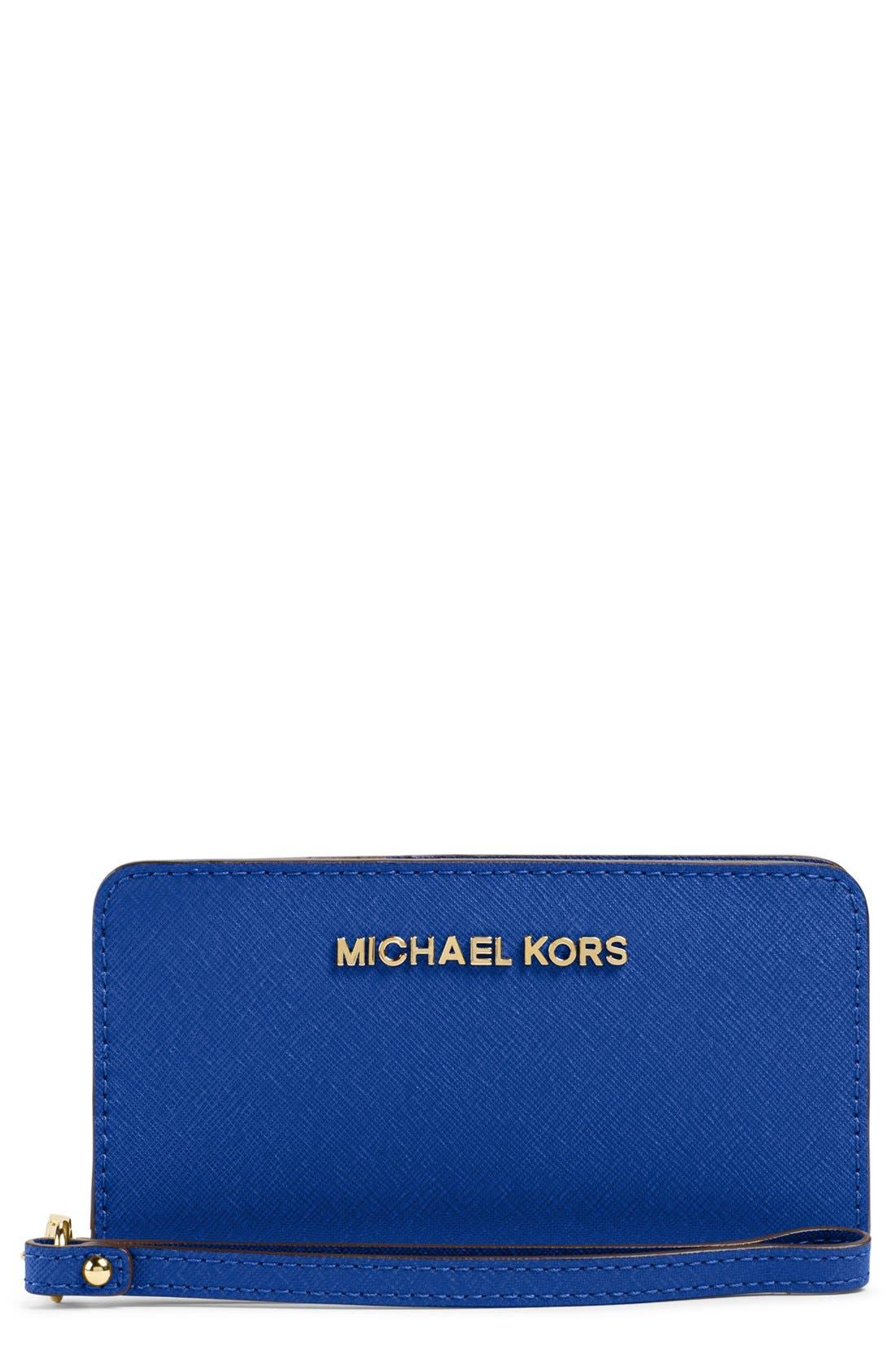 Main Image - MICHAEL Michael Kors Saffiano Leather Phone Wallet