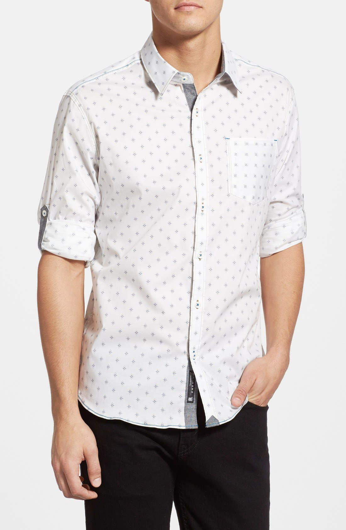 'Reflector' Trim Fit Woven Shirt,                         Main,                         color, White