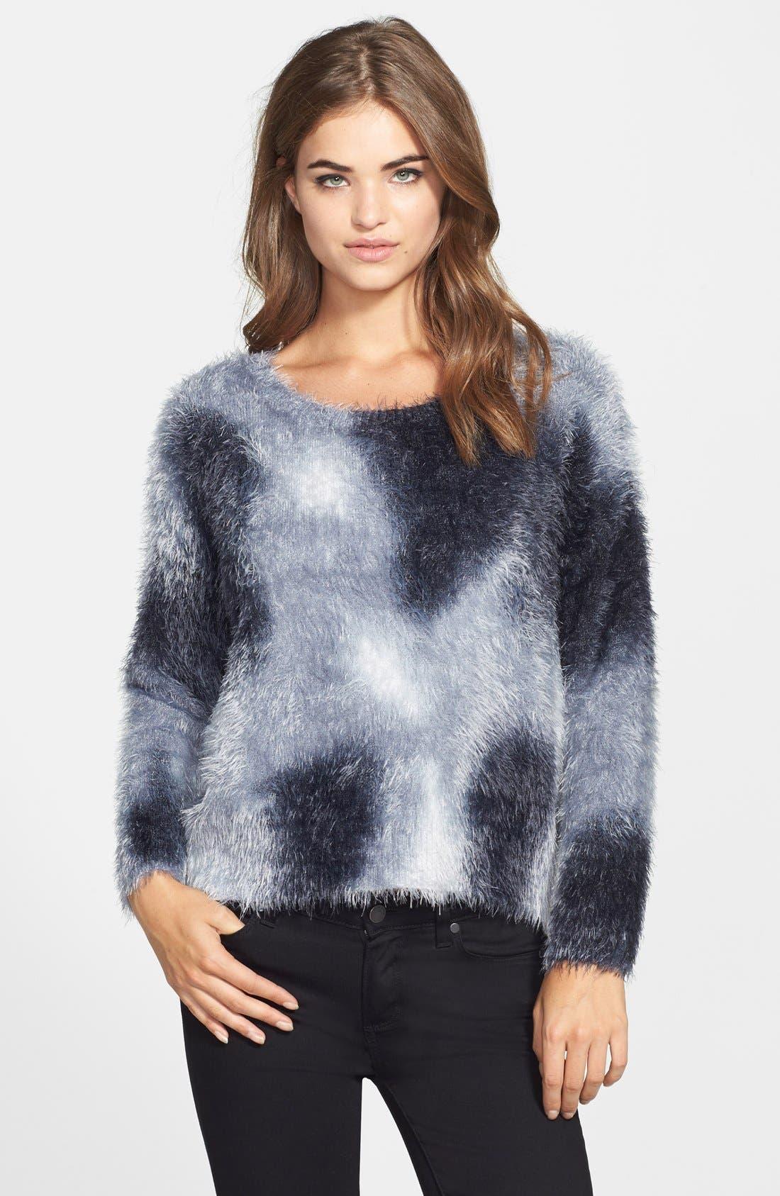 Tie Dye Eyelash Yarn Sweater,                         Main,                         color, Vanilla