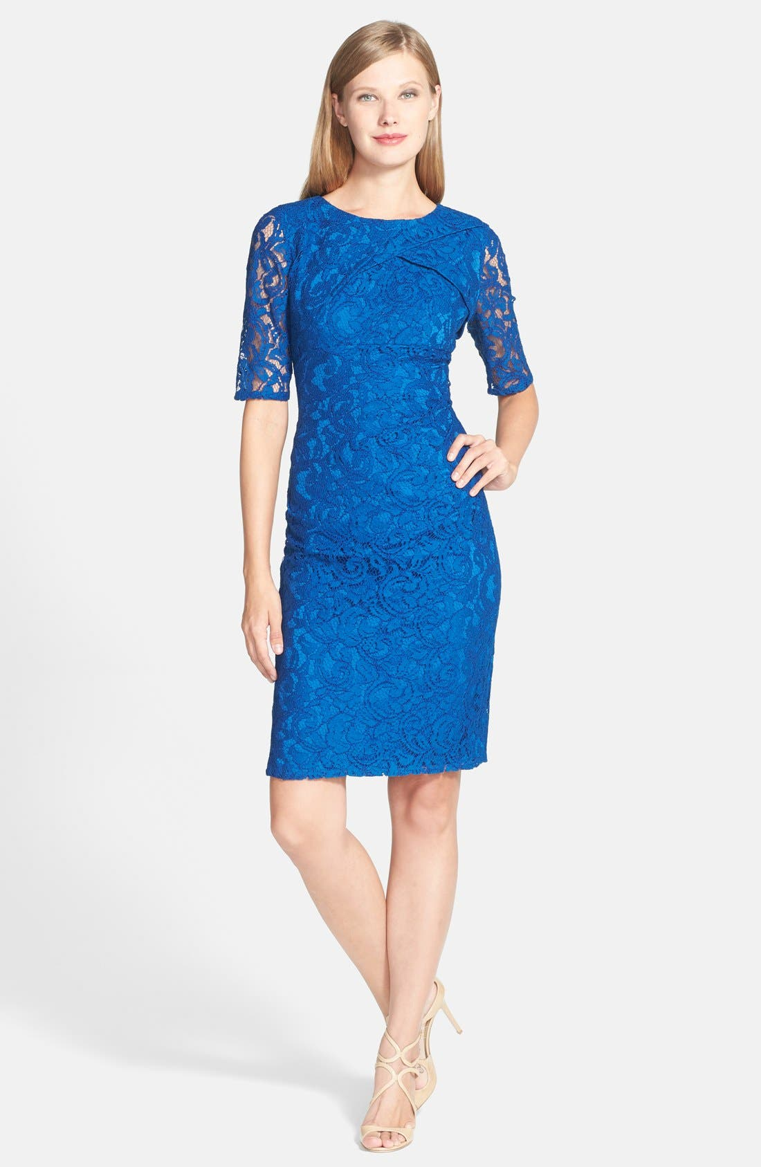 Alternate Image 3  - Adrianna Papell Pleat Neck Lace Sheath Dress