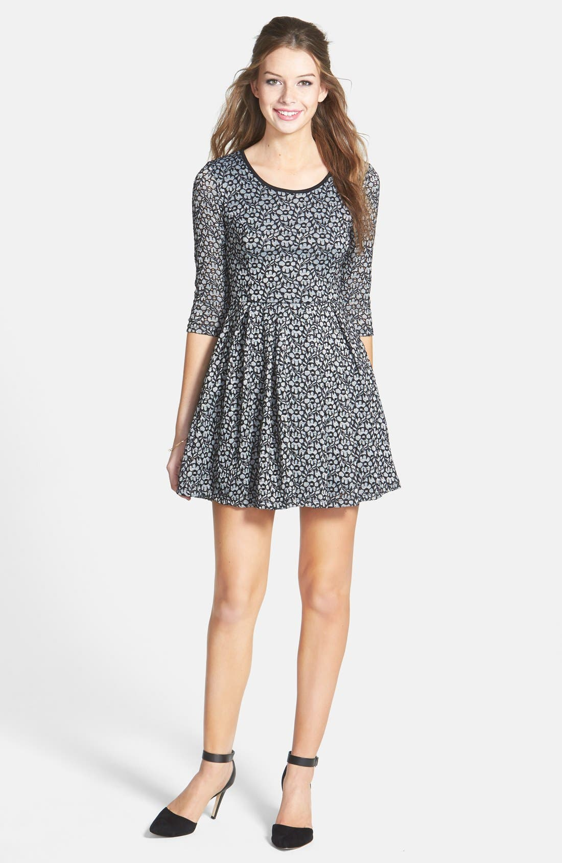 Main Image - Lush Textured Floral Lace Skater Dress