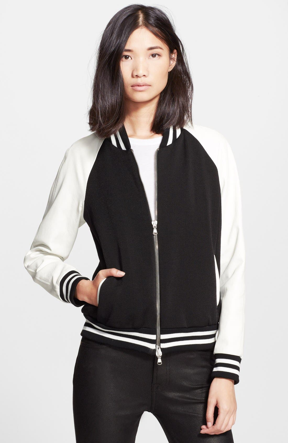 Main Image - Veronica Beard Leather Sleeve Varsity Jacket